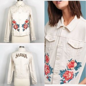 Mother Jean Jacket Embroider The Bruiser Crop XS